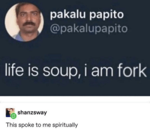 Same, I am fork. by wilsones213 MORE MEMES: pakalu papito  @pakalupapito  life is soup,i am fork  shanzsway  This spoke to me spiritually Same, I am fork. by wilsones213 MORE MEMES