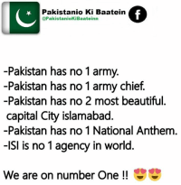 Best Friend, Isis, and Memes: Pakistanio Ki Baatein  @PakistaniokiBaateinn  -Pakistan has no 1 army.  -Pakistan has no 1 army chief  -Pakistan has no 2 most beautiful.  capital City islamabad  -Pakistan has no 1 National Anthem  -ISI is no 1 agency in world.  We are on number one #Don't Leave Your #Friends #Alone On #Facebook  #Just #Tag Your #Best #Friends In #This #Post