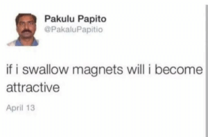 Will I: Pakulu Papito  @PakaluPapitio  if i swallow magnets will i become  attractive  April 13