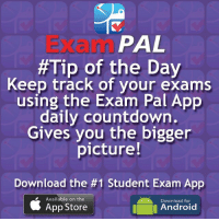 PAL  #Tip of the Day  Keep track of your exams  using the Exam Pal App  daily countdown.  Gives you the bigger  picture!  Download the #1 Student Exam App  Available on the  Download for  a Android  App Store ***Calling all schools & colleges*** Are you doing enough for your students to succeed?Tell them about Exam Pal NOW! http:-buff.ly-2phErjk