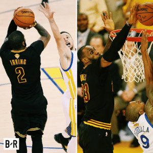 Cavs, History, and Today: PALDING  ALDING  RVING  -B-R  AIOALA  9 ◻️ The Block ◻️ The Shot ◻️ The 3-1 comeback  Bron, Kyrie and the Cavs made history against the Warriors three years ago today.
