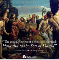 Today we celebrate Palm Sunday and enter the sacred time of Holy Week.: PALM SUNDAY  The crowds that went before him shouted  Hosanna to the Son of David!  MATTHEw 21:9  ST. PAUL CENTER  FOR BIBLICALTHEOLOGY Today we celebrate Palm Sunday and enter the sacred time of Holy Week.