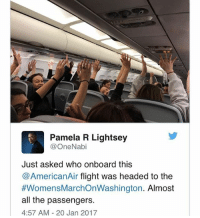 Pamela Meme: Pamela R Lightsey  OneNabi  Just asked who onboard this  AmericanAir flight was headed to the  #Womens MarchonWashington. Almost  all the passengers.  4:57 AM 20 Jan 2017
