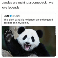 cnn.com, Dank, and Love: pandas are making a comeback!! we  love legends  CNN @CNN  The giant panda is no longer an endangered  species cnn.it/2csxhzL