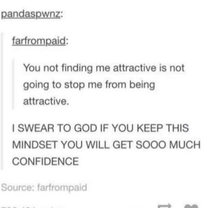I Swear To God: pandaspwnz:  farfrompaid:  You not finding me attractive is not  going to stop me from being  attractive.  I SWEAR TO GOD IF YOU KEEP THIS  MINDSET YOU WILL GET SOOO MUCH  CONFIDENCE  Source: farfrompaid
