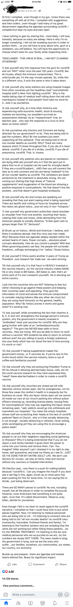 Pandemic conspiracy to vaccinate the masses and remove Trump. Couldn't share sources because...reasons. My soul hurts after reading this garbage.: Pandemic conspiracy to vaccinate the masses and remove Trump. Couldn't share sources because...reasons. My soul hurts after reading this garbage.