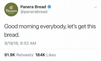 Happy Thursday 😂🤦‍♂️ https://t.co/0a53cRbSWy: Panera Bread  @panerabread  Panera  BREAD  Good morning everybody,let's get this  bread  9/19/18, 6:52 AM  91.9K Retweets 184K Likes Happy Thursday 😂🤦‍♂️ https://t.co/0a53cRbSWy