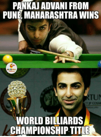 Congratulations To Pankaj Advani.. (Y): PANKAU ADVAN FROM  PUNE MAHARASHTRA WINS  WORLD BILLIARDS  CHAMPIONSHIP TITLE Congratulations To Pankaj Advani.. (Y)