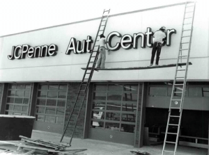 Jcpenney, Rushmore, and Osha: Panne Auit Centr  0 JCPenney Auto Center. Rushmore Mall. Rapid City, South Dakota. Non-OSHA friendly sign installation, 1979. (Rapid City Journal photo)