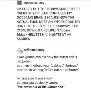 "Fucking, Run, and Sorry: pansexual-icey  I'M SORRY BUT THE NORWEGIAN BUTTER  CRISIS OF 2011 JUST CONFUSES MY  GODDAMN BRAIN BECAUSE HOW THE  ACTUAL FUCK DOES AN ENTIRE COUNTRY  RUN OUT OF BUTTER. DID NORWAY JUST  COME DOWNSTAIRS LIKE: N:*Opens  fridge* HELVETE N:VI KJØRTE UT AV  SMØREN  ' caffinatedstory  I was gonna explain how the butter crisis  happened  but then I noticed your fucking /hilarious/  attempt at writing ""we've run out of butter""  I'm not sure if you know  but you just basically wrote:  ""We drove out of the lubrication"" Norwegian butter crisis"