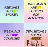 Demisexuality: PANSEXUALS  ASEXUALS  AREI  AREI  LOOKING  FOR  BROKEN  ATTENTION  BISEXUAL  DEMISEXUALS  AREN'T  ARE  CONFUSED  REAL