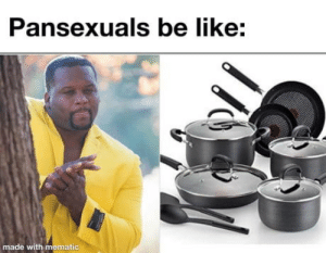 Pansexuals be like: Pansexuals be like:  made with mematic Pansexuals be like