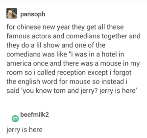 "You Know Jerry?: pansoph  for chinese new year they get all these  famous actors and comedians together and  they do a lil show and one of the  comedians was like ""i was in a hotel in  america once and there was a mouse in my  room so i called reception except i forgot  the english word for mouse so insteadi  said 'you know tom and jerry? jerry is here'  beefmilk2  jerry is here You Know Jerry?"