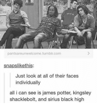 ~Dobby: pantsare unwelcome tumblr, com  snapslikethis:  Just look at all of their faces  individually  all i can see is james potter, kingsley  shacklebolt, and sirius black high ~Dobby