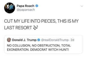 Papa Roach everybody…: Papa Roach  @paparoach  CUT MY LIFE INTO PIECES, THIS IS MY  LAST RESORT  @realDonaldTrump 2d  Donald J. Trump  NO COLLUSION, NO OBSTRUCTION, TOTAL  EXONERATION. DEMOCRAT WITCH HUNT! Papa Roach everybody…