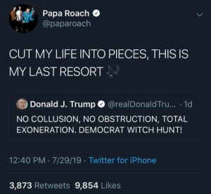 The perfect tweet doesn't exis-: Papa Roach  @paparoach  J  CUT MY LIFE INTO PIECES, THIS IS  MY LAST RESORT  Donald J. Trump  @realDonaldTru... 1d  NO COLLUSION, NO OBSTRUCTION, TOTAL  EXONERATION. DEMOCRAT WITCH HUNT!  12:40 PM 7/29/19 Twitter for iPhone  3,873 Retweets 9,854 Likes The perfect tweet doesn't exis-