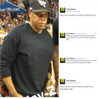 Give him a break: Papi Memes  The Bardockabama  Why Hov built like a Duracell D battery now  Papi Memes  @The BardockObama  55m  When youre getting roasted but you lowkey  got a binder full of Yu-Gi-Oh cards under your  shirt  Papi Memes  @TheBardookobama  Th  Why Hov look like that one dyke aunt who just  came out of jail for probation violation  Papi Memes  @The BardockObama  Why Hov look like he stole a poster off a  GameStop wall Give him a break