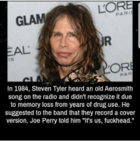 """Aerosmith, Memes, and Radio: PAR i  GLAM  EAL  DORE  PAR  In 1984, Steven Tyler heard an old Aerosmith  song on the radio and didn't recognize it due  to memory loss from years of drug use. He  suggested to the band that they record a cover  version. Joe Perry told him """"It's us, fuckhead."""""""
