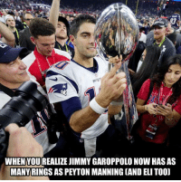 Nfl, Peyton Manning, and Rings: PAR  WHEN YOU REALIZE JIMMY GAROPPOLO NOW HAS AS  MANY RINGS AS PEYTON MANNING CAND ELI TOOD WELP