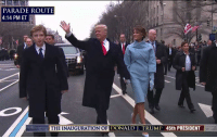 President @realDonaldTrump, First Lady Melania Trump and Barron Trump walk during the Inaugural Parade. Trump45: PARADE ROUTE  4:14 PM ET  THE INAUGURATION OF DONALD TRUMP 45th PRESIDENT President @realDonaldTrump, First Lady Melania Trump and Barron Trump walk during the Inaugural Parade. Trump45