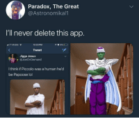Blackpeopletwitter, Lol, and Papoose: Paradox, The Great  @Astronomikal1  I'll never delete this app.  1 T-Mobile  12:23 PM  Tweet  Jigga Jeaux  隻@JoeOnDemand  I think if Piccolo was a human he'd  be Papoose lol <p>Now they need to cast him in the Live Action movie (via /r/BlackPeopleTwitter)</p>