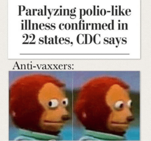 """Nothing going on here"": Paralyzing polio-like  illness confirmed in  22 states, CDC says  Anti-vaxxers: ""Nothing going on here"""