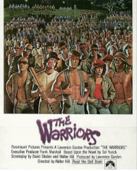 """Box Office, Office, and Pictures: Paramount Pictures Presents A Lawrence Gordon Production 'THE WARRIORS""""  Executive Producer Frank Marshall Based Upon the Novel by Sol Yurick  Screenplay by David Shaber and Walter Hill Produced by Lawrence Gordon  Directed by Walter Hill Read the Del B00k 38 years ago today, """"The Warriors"""" released in theaters. It made around $22,000,000 in the box office! https://t.co/f8eOLg3d86"""