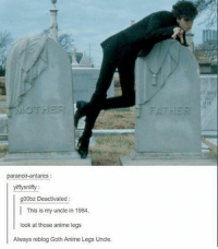 Anime, Memes, and Kiss: paranoir antares  yiffysniffy  g00bz Deactivated  This is my uncle in 1984.  look at those anime legs  Always reblog Goth Anime Legs Uncle. kiss kiss falling down - Max textpost textposts