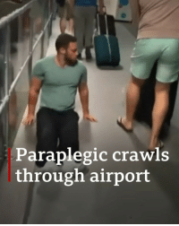 "Memes, Flight, and Left Behind: Paraplegic crawl:s  through airport ""I felt humiliated that I'd been forced into this position."" Justin Levene, a paraplegic man, dragged himself through an airport after his custom-made wheelchair was left behind on a flight. Tap the link in our bio to read more about his decision to sue Luton Airport. airport lutonairport disability disabilityrights bbcnews"