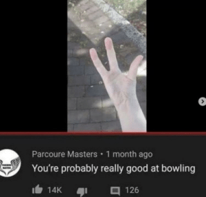 It's true: Parcoure Masters 1 month ago  You're probably really good at bowling  E 126  14K It's true