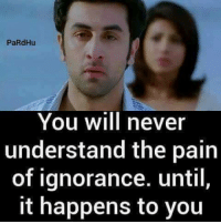 Memes, Ignorance, and Never: PaRdHu  You will never  understand the pain  of ignorance. until,  it happens to you