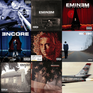 Happy Birthday goes out to Eminem! He turned 47 today! Comment your favorite album of his below! 👇🎂🎈 @Eminem https://t.co/ZwQffbEGRY: PARENTAL  ADVISORY  EMINEM  T HE E MINEM SHOW  EMINTEM  THE  S  PARENTAL  PARENTAL  ADVISORY  EIPLICIT CONTENT  LP  ZCORE  RECOVERY  RELAPSE  PARENTAL  ADVISORY  ADVISORY  EMINEM  ADVISORY  EXPLICIT CONTENT  EIPLICIT CONTENT  EMNEV  REVIVAI  KAMIKAZE  TIKCUS  19946  FU 207  PARENTAL  ADVISORY  EXPLICIT CONTENT Happy Birthday goes out to Eminem! He turned 47 today! Comment your favorite album of his below! 👇🎂🎈 @Eminem https://t.co/ZwQffbEGRY