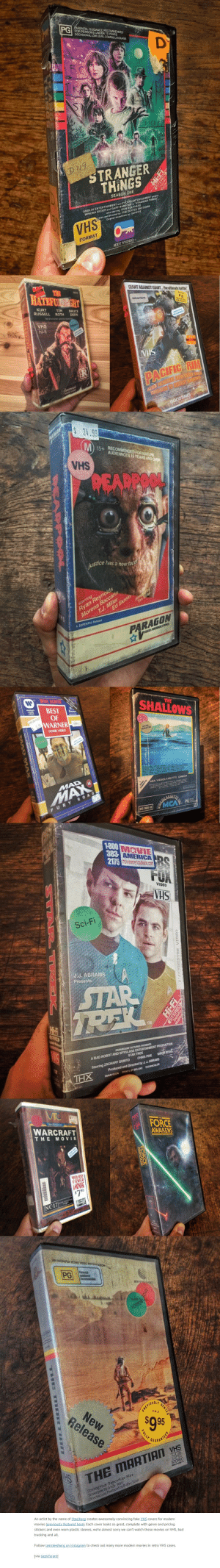 """Bad, Blockbuster, and Chris Pine: PARENTAL GUIDANCE RECOMMENDED  G FOR PERSONS UNDER 15 YEARS  OCCASIONAL LOW LEVEL COARSE LANGUAGE  BC  STRANGER  THINGS  SEASON ONE  WINONA RYDER and GARY HARBOUR In """"STRANGER THINGS  also starring: FINN WOLFHARD  AMBLIN ENTERTAINMENT and 21s1 APS ENTERTAINMENT present  ritten and directed by: THE DUFFER BROTHERS  Original soundtrack by: SURVIVE  VHS  FORMAT  KEY VIDEOe  THE  HATEFUR GHT  GLANT AGAINST GIANT... the ultimate battle  6833  KURT  RUSSELL  RATED  Adventure  PG  PARENTAL  GUIDANCE  TIM  ROTH  THE STH FILM BY QUENTIN TARANTIN  BRUCE  DERN  VHS  VIDEO STAFF  RECOMMENDS  Western  hi-fi  VDEO STAFF  MENDS  VHS  video-cassette  IN COLOR  PACIFIC RIM  ALLER MONSTERS FROMOUTER SPACE  THREATEN TO DESTROY MANKIND!  Paramount  HOME VIDED  gEs heser d N  WMORLMT  frodu HATO  GOODTIMES  $24.99  M 15+  RECOMMENDED FOR MATURE  AUDIENNCES 15 YEARS AND OVER  SHA  REAPPOOL  justice has a new face  Ryan Reynolds  Ed Skrein  Morena Baccarin  TJ. Miller  directod by  Tim Mller  starring  A SUPERPIX Relese  PARAGON  PIDEO PRODUCTRONS  WIDE SCREEN  STRAD  WARNER  HOME  VIDEO  BEST  OF  WARNER  SHALLOWS  THE  Stereo  69520 125  2.99  C-63  HOME VIDEO  АCTION-  ADVENTURE  HORROI  VIDEOS  POLLETEGA MUSIC SY AGOUMA PICTUNE  E 1aADRI6 and MATTLU OOLU A  MAD  MCA VIDEOCASSETTE CANADA  ued ty MCA V D 2I TIs Fe  MAX  Mamac NARAST CANADA 62  SILASETEL  MCA  FURY ROAD  PG C  VHS 6669-50  1-800 MOVIE  383 AMERICADO  2175 movieamericadeals.com  FOX  VIDEO  VHSH  Sci-Fi  J.J. ABRAMS  Presents  IAR  TREK  LE  TAM  USTERED  gtay  VAS  A BAD ROBOT AND SPYGLASS ENTERTAINMENT PRODUCTION  SIMON REGG  PARAMOUNT PICTURES PRESENTS  STAR TREK  CHRIS PINE  Starring ZACHARY QUINTO  Produced and Directed by J.J. ABRAMS  THX  PANAVISION PRINTS BY DELUXE TECHNICOLOR  VIC  PRS  FORCE  AWAKENS  NOEOTAPE CENTER  WARCRAFT  THE MOVIE  ECOM  PREVIOUSLY  VIEWED  HOVIE  $7.99  NO ONE S7 ANDUNDER  ACM  OLWOOD  NC-17  MIS  AN MGM/UA HOME VIDEO PRSVTATION  PG  Parent  guidance  NE"""