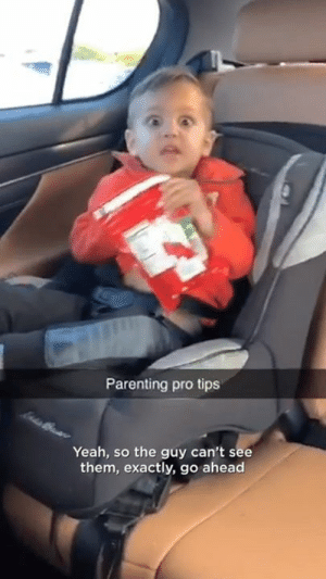 Dank, Yeah, and Pro: Parenting pro tips  Yeah, so the guy can't see  them, exactly, go ahead Parenting level: Expert  CONTENTbible