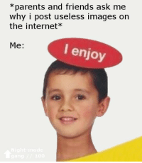 Friends, Internet, and Parents: *parents and friends ask me  why i post useless images on  the internet*  Me:  I enjoy i enjoy