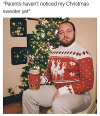 "When You See It, Dank Memes, and Christmas Sweater: ""Parents haven'tnoticed my Christmas  sweater yet""  HB LIKE when you see it!"