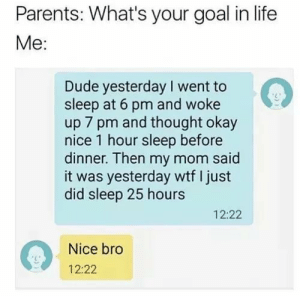 Dank, Dude, and Life: Parents: What's your goal in life  Me:  Dude yesterday I went to  sleep at 6 pm and woke  up 7 pm and thought okay  nice 1 hour sleep before  dinner. Then my mom said  it was yesterday wtf I just  did sleep 25 hours  12:22  Nice bro  12:22 meirl by qeliasq MORE MEMES