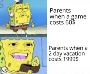 Meirl: Parents  when a game  costs 60$  Parents when a  2 day vacation  costs 1999$ Meirl