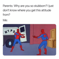 Parents, Dank Memes, and Attitude: Parents: Why are you so stubborn? I just  don't know where you get this attitude  from?  Me: Exactly. 😅😅