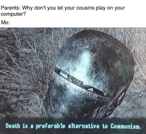 Parents, Reddit, and Computer: Parents: Why don't you let your cousins play on your  computer?  Me:  Death is a preferable alternative to Communism. *sharing is caring intensifies*