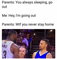 Funny, Parents, and Wtf: Parents: You always sleeping, go  out  Me: Hey, I'm going out  Parents: Wtf you never stay home  ME  DEN 😑