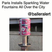 "Friday, Memes, and The Game: Paris Installs Sparkling Water  Fountains All Over the City  @balleralert  bi  e 9  KIR  SR  ARES  CEARD Paris Installs Sparkling Water Fountains All Over the City-blogged by @thereal__bee ⠀⠀⠀⠀⠀⠀⠀⠀⠀ ⠀⠀ From their cuisine to their scenery, Paris is a city like no other, and now they are changing the game when it comes to water fountains. ⠀⠀⠀⠀⠀⠀⠀⠀⠀ ⠀⠀ Unhappy with the regular water fountains we're familiar with, the city has instead installed sparkling water fountains throughout the city. ⠀⠀⠀⠀⠀⠀⠀⠀⠀ ⠀⠀ CityLab reports that Paris has been working on this project since 2010. Before this month there were only eight throughout the city. Now they are upping the game by installing a fountain in every one of the city's 20 Arrondissements (districts). ⠀⠀⠀⠀⠀⠀⠀⠀⠀ ⠀⠀ Friday, a new fountain was officially installed at Square Eugene Varlin. Eight more are set to be installed by next December. Within a few years, ""every corner of Paris could be flowing with free fizz,"" CityLab reports. ⠀⠀⠀⠀⠀⠀⠀⠀⠀ ⠀⠀ According to CityLab's Feargus O'Sullivan, finding one of these fountains is quite hard, as they don't physically appear as luxurious as they are. However, once you get past the appearance, the sparkling water is described as a delicious ""magical surprise"" that is ""cool but not icy."""