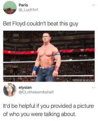 Blackpeopletwitter, Dank, and Mayweather: Paris  @_Luch1n1  Bet Floyd couldn't beat this guy  3  ACFB@DANK MEMEOLOGY  elysian  @CLxthebombshell  It'd be helpful if you provided a picture  of who you were talking about. <p>Mayweather can&rsquo;t knock out what he can&rsquo;t see (via /r/BlackPeopleTwitter)</p>