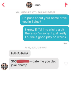 Dad, Puns, and Sorry: Paris  YOU MATCHED WITH PARIS ON 7/16/17  Do puns about your name drive  you in Seine?  I know Eiffel into cliche a bit  there so I'm sorry, I just really  Louvre a good play on words.  Sent  Jul 19, 2017, 12:55 PM  HAHAHAHA  310- date me you dad  joke champ Frankly Im just proud of myself for thinking up 2 of those 3 puns on my own