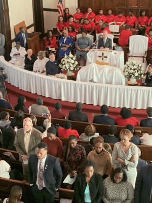 Parishioners at the AME Brown Chapel turn their backs on Michael Bloomberg as he visits to campaign: Parishioners at the AME Brown Chapel turn their backs on Michael Bloomberg as he visits to campaign