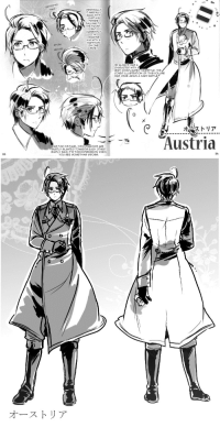 """Target, Tumblr, and Yo: paritioned  kere  ORIGINALLY  T WAS ALL-  BACK WITH  JUST HIS  FRINGE  FALLING TO  THE FRONT  BUT  CURRENTLY  I'M  DRAWING  HIM WITHA  PARTITION  ON ONE  SIDE  Prom  aBove  HE ALWAYS WAS A  CHARACTER WITH A  VERY COMPLICATED HAIRSTYLE. THE  COVER ILLUSTRATION OF THIS VOLUME  WAS ONCE AGAIN A HARO BATTLE  け  ストリア  Austria  AS FOR HIS FACE, HIS EYEBROWS ARE  S니BTLY SLANTED TOWARDS EACH OTHER  SIMPLY SAID, IT'S THIS EXPRESSION WHEN  YO SEE SOMETHING GROSS  25  24   オーストリア annaliese-edelstein:  rose-queen-quartz:  """"The Heart of Europe"""" {♥} Roderich Edelstein - design by Himaruya Hidekaz  That's all. I'm gonna sleep. Gute Nacht und schöne Träume, meine lieben Followers ♥ ♥ Auf Wiedersehen"""