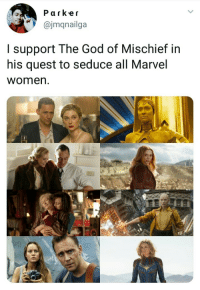 God, Marvel, and Quest: Parkeir  ajmqnailga  I support The God of Mischief in  his quest to seduce all Marvel  women. Real God..