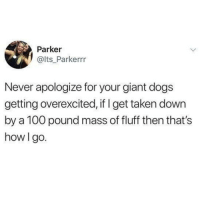 Anaconda, Dogs, and Memes: Parker  @lts Parkerrr  Never apologize for your giant dogs  getting overexcited, if I get taken down  by a 100 pound mass of fluff then that's  how I go. @dogsbeingbasic is an absolute must follow for all animal lovers!!