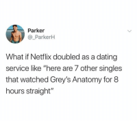 "Chinese Food, Dating, and Food: Parker  @_ParkerH  What if Netflix doubled as a dating  service like ""here are 7 other singles  that watched Grey's Anatomy for 8  hours straight"" @netflix WE NEED THIS!!!! I just want to find a sad gurl that I can binge watch Black Mirror and order shitty Chinese food with 😭😭😭"