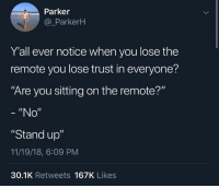 "Dank, 🤖, and Parker: Parker  @ParkerH  Y'all ever notice when you lose the  remote you lose trust in everyone?  Are you sitting on the remote?""  ""No""  ""Stand up""  11/19/18, 6:09 PM  30.1K Retweets 167K Likes"